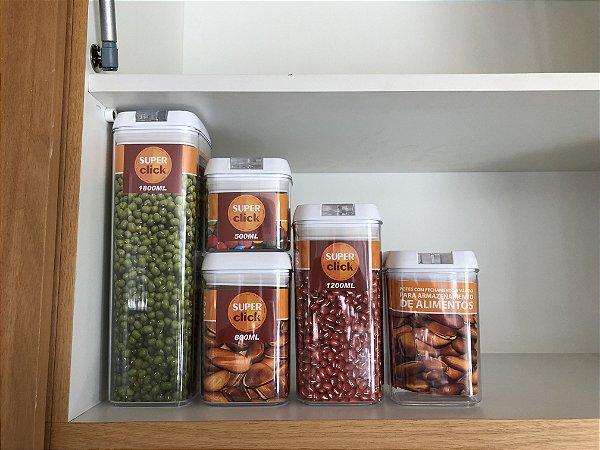 Pote com Fechamento a Vácuo para Armazenamento de Alimentos - Super Click