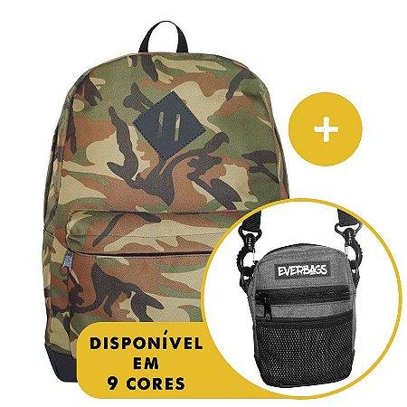 Kit Mochila School Camuflada + Shoulder Bag