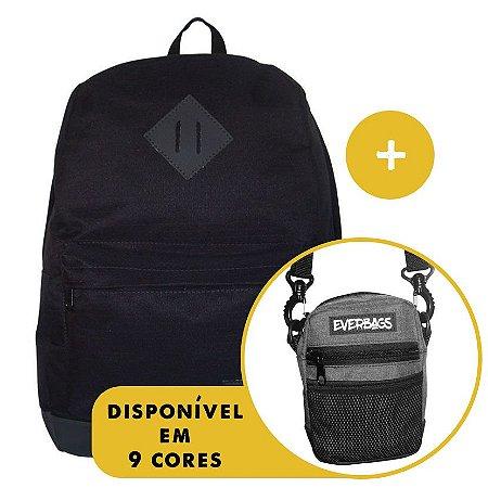Kit Mochila School Black + Shoulder Bag