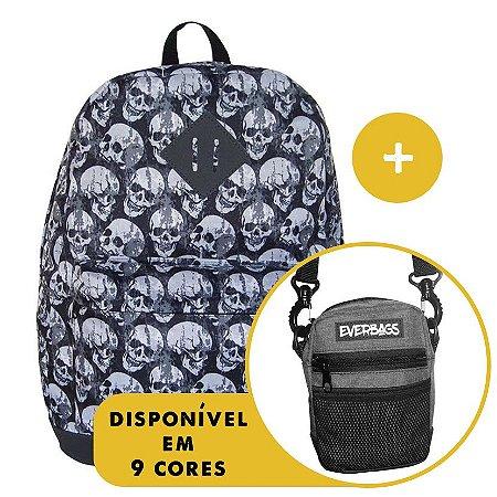 Kit Mochila School Caveira + Shoulder Bag