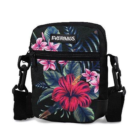 Shoulder Bag Black Floral Everbags