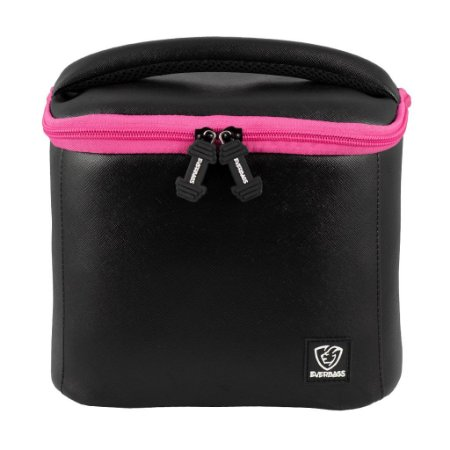 Bolsa Térmica Fitness Lancheira Lunch Bag Preto Rosa Everbags