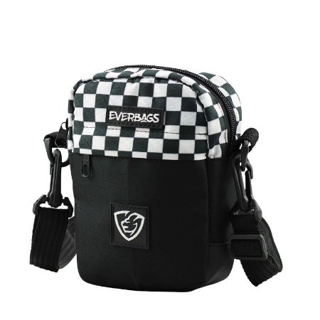 Shoulder Bag Necessaire Pochete Combate Preto Xadrez Everbags