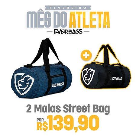 KIT 2 Malas de Treino Streetbag - Azul Mescla + Black