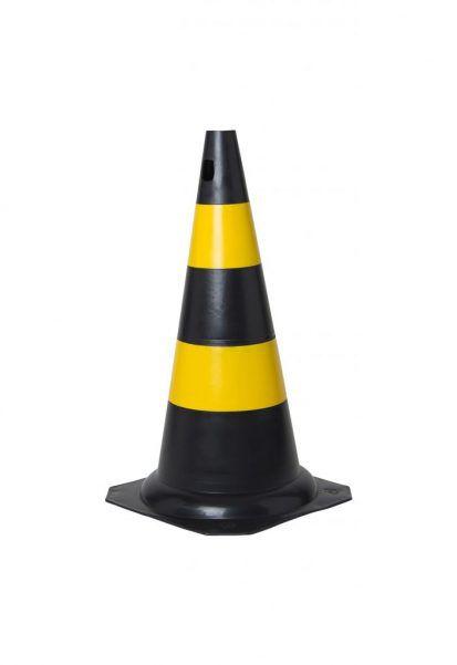 Cone De Sinalização Rígido 50 Cm - Preto/Amarelo - KTELI