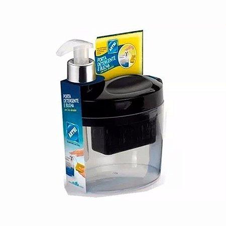 Porta Detergente E Bucha Preto - Arthi