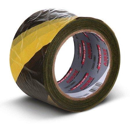 Fita Zebrada Preto/Amarela 70 mm X 200 Mt - ADERE