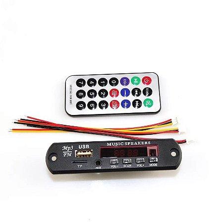 Placa P/ Amplificador - Modulo Usb Mp3 Bluetooth Aux 12volts