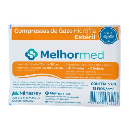 Compressa de Gaze Estéril 13 FIOS (10UN) - MelhorMed
