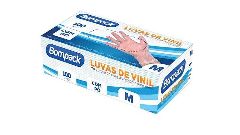 Luva de Vinil Com Pó Tamanho M (100UN) - Bompack