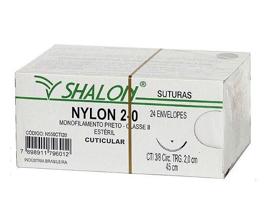 Fio de Sutura Nylon Nº 2-0 com Agulha 2,0CM - Shalon