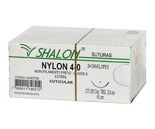 Fio de Sutura Nylon Nº 4-0 com Agulha 3,0CM - Shalon