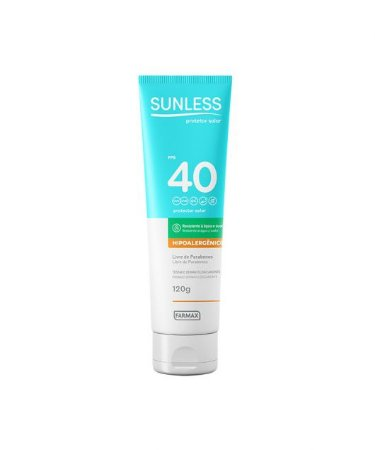 Protetor Solar Hipoalergênico Sunless FPS 40 (120g) - Farmax