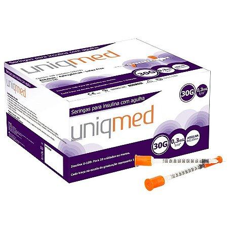 Seringa para Insulina 0,3ML com Agulha 30G 8x0,30mm (10UN) - UNIQMED