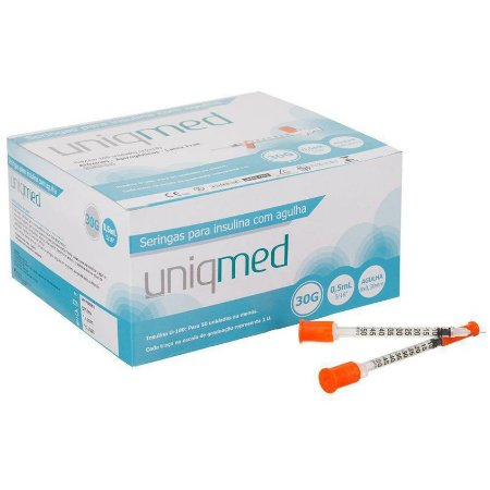 Seringa para Insulina 0,5ML com Agulha 30G 8x0,30mm (10UN) - UNIQMED