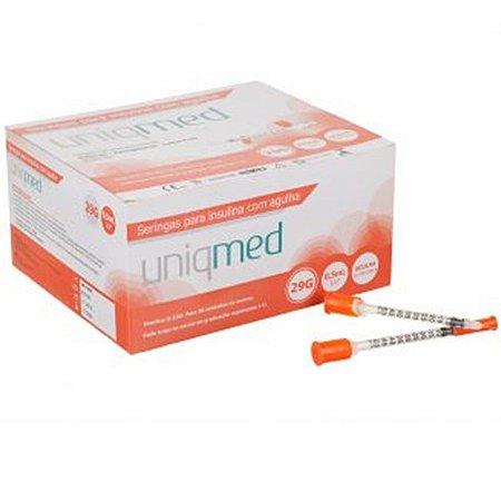 Seringa para Insulina 0,5ML com Agulha 29G 12,7x0,33mm (10UN) - UNIQMED
