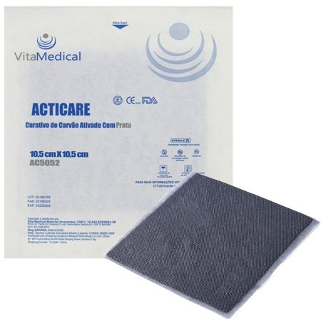Curativo de Carvão Ativado com Prata Acticare 10,5cm x 10,5cm Vita Medical - 1 Unidade