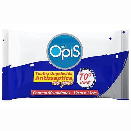 Lenço Umedecido com Álcool 70% Antisséptico 50 Unidades - Use Opis