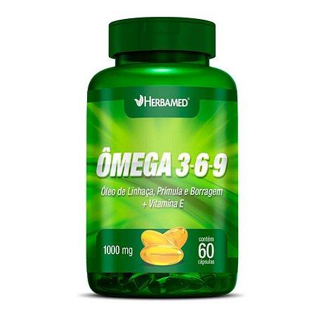Ômega 3-6-9 Linhaça, Prímula E Borragem + Vitamina E (60 Cáps) - Herbamed