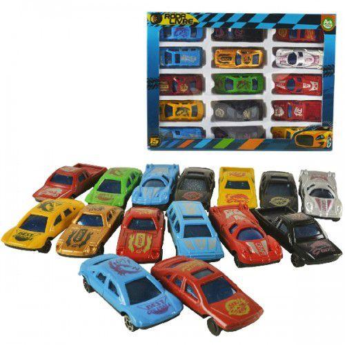 Carros Coleção Roda Livre - 15 Peças - Cores Sortidas
