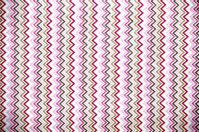 Tecido Tricoline Círculo Chevron Baby Rosa -2146 - 50cmX1,46cm