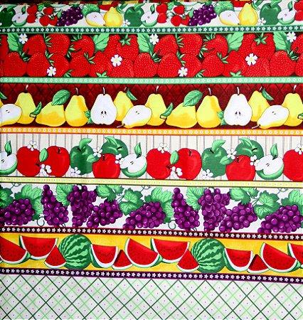 Tecido Tricoline Círculo Barrado Frutas Tropicais -2114 - 50cmX1,46cm