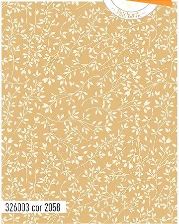 Tecido Círculo Floral BEGE com BRANCO - cor 2058 - 0,50cm X 1,46 Mts