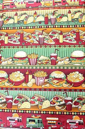 Tecido Círculo Barrado Fast Food - cor 2161 - 0,50cm X 1,46 Mts