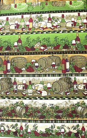Tecido Círculo Barrado Vinhos - cor 2158 - 0,50cm X 1,46 Mts