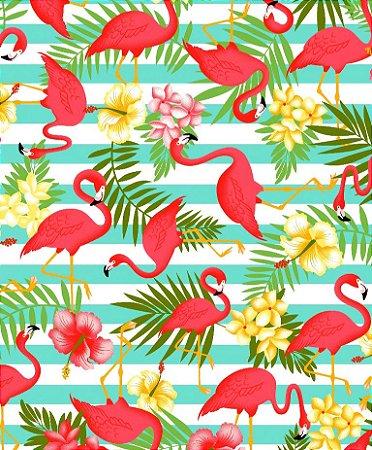 Tecido Tricoline Círculo Flamingos -2108 - 50cmX1,46cm