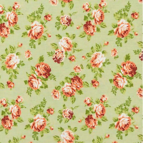 Tecido Círculo Floral Viena Bege  - 2256 - 0,50cmx1,50 Mts