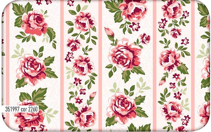 Tecido Círculo Jardim de Rosas FAIXAS- 2260 - 0,50cmx1,46 Mts