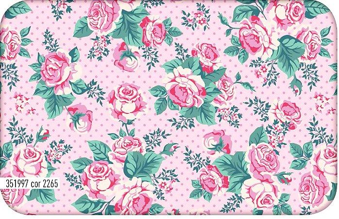 Tecido Tricoline Círculo Flora Rosas - 2265 - 0,50cmx1,46 Mts