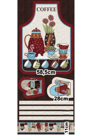 Tecido Patchwork Circulo Avental Coffee -  2261 - 0,61x1,50mts