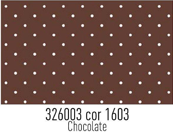 Tecido Círculo Poá Chocolate e Branco - 1603 - 0,50cmx1,46 Mts