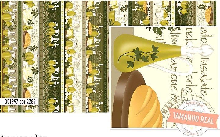 Tecido Círculo Barrado Azeite Oliva - cor 2294 - 0,50cm X 1,46 Mts