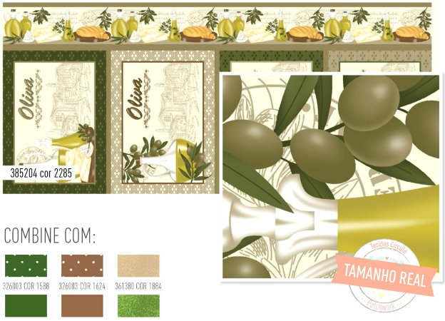 Tecido Patchwork Circulo Jogo Americano Azeite Oliva -  2285 - 0,61x1,46mts