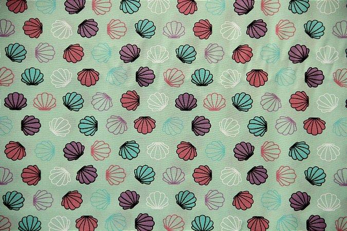 Tecido Círculo Conchas Sereias - 1689 - 0,50cmx1,46 Mts
