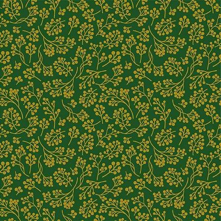 Tecido Círculo VERDE C/ DOURADO -Cor 2415 - 0,50cm x 1,50 Mts