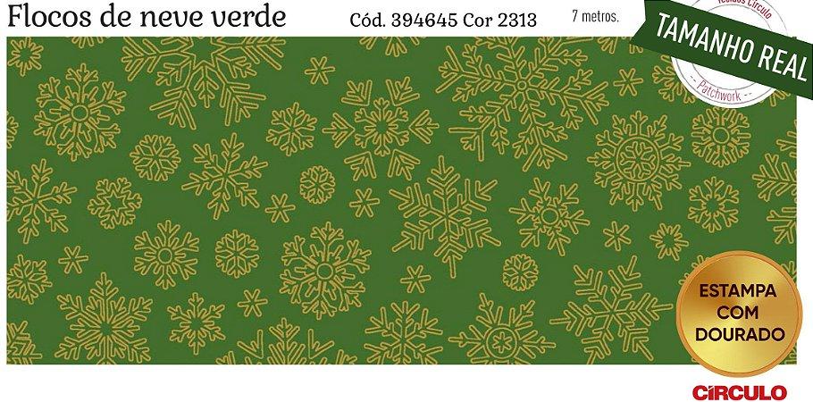 Tecido Círculo Flocos de Neve VERDE- 2311 - 0,50cmx1,50 Mts