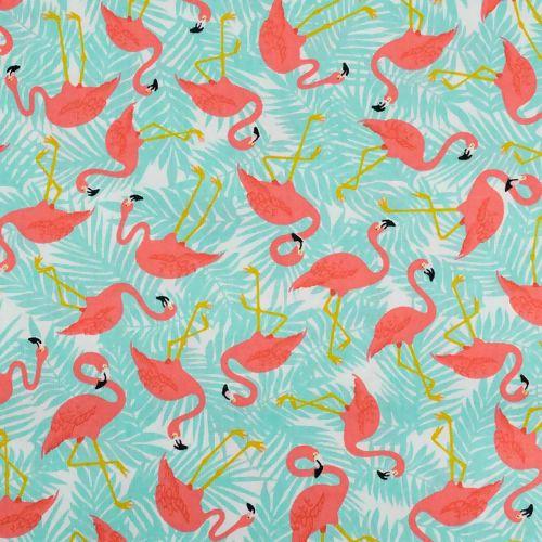 TecidoCírculo- Flamingos azuis -2109 - 50cmX1,50cm