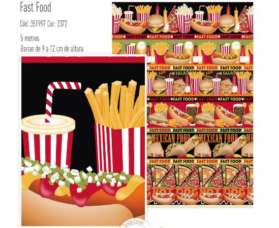 Tecido Círculo Barrado FAST-FOOD - 2372 - 0,50cmx1,50 Mts