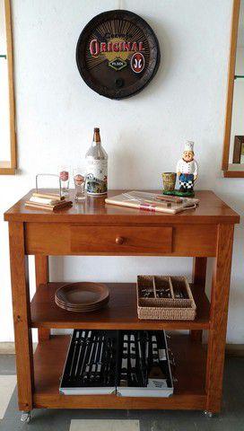 Mesa Para Churrasco Com 1 Gaveta Madeira Maciça