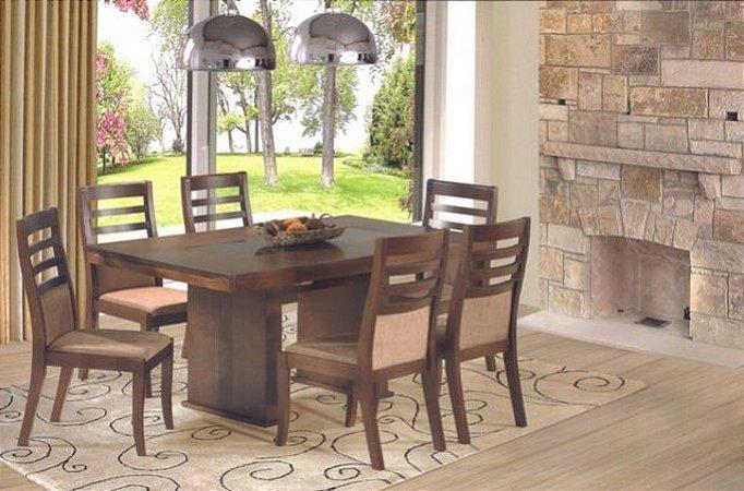 Mesa retangular com 06 cadeiras