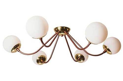 Plafon Aura 6 Globos de vidro Exclusividade