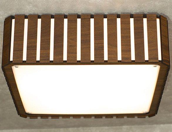 Plafon de Sobrepor Quadrado 40cm Madeira e Acrílico PL06/M Aproveite
