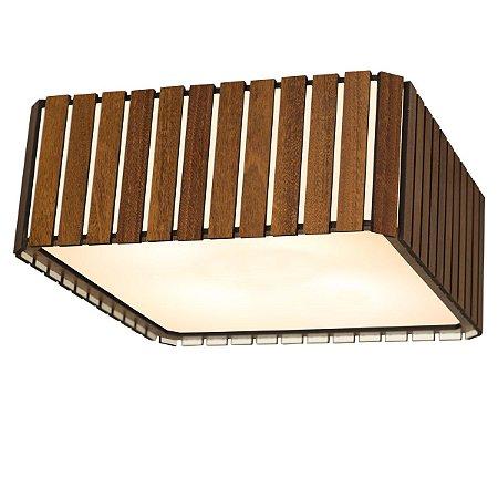 Plafon de Sobrepor Quadrado 70cm Madeira e Acrílico PL06/EE Imbatível