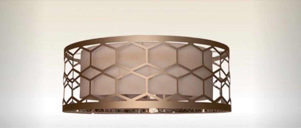 Plafon Toronto Cúpula em Alumínio e Tecido 40cm Aproveite