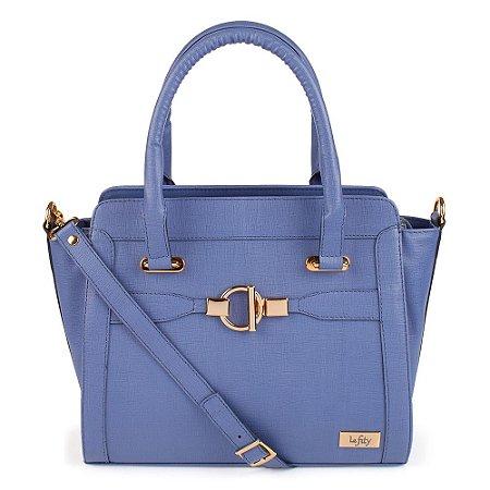Bolsa de Mão Feminina Estruturada Cor Azul Jeans Modelo Lalí da Marca Lefity