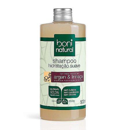 Shampoo Natural Argan e Linhaça Boni Natural 500ml